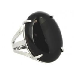 bague cabochon ovale agate noire