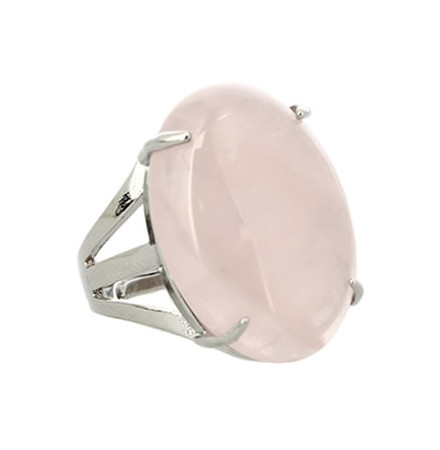bague pierre cabochon quartz rose