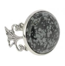 bague cabochon obsidienne neige