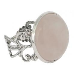 bague pierre quartz rose cabochon