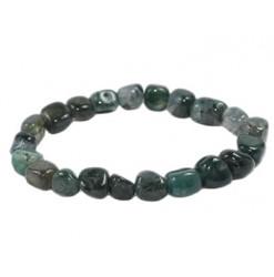 bracelet pierre roulée agate mousse