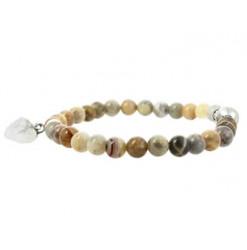 bracelet agate crazy lace perles et coeur