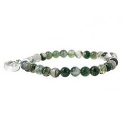 agate mousse bracelet perles pierre et coeur