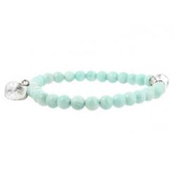 bracelet amazonite et coeur de cristal de roche