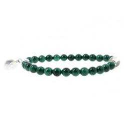 bracelet malachite et coeur de cristal de roche
