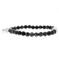 obsidienne neige bracelet et coeur