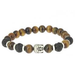 oeil de tigre et pierre de lave bracelet lithothérapie