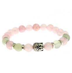 bracelet lithothérapie quartz rose et jade