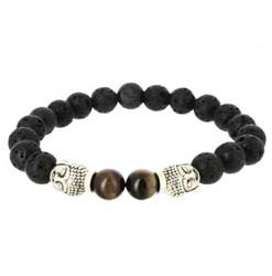 bracelet pierre de lave et oeil de tigre wing chun