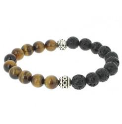 bracelet pierre de lave et oeil de tigre