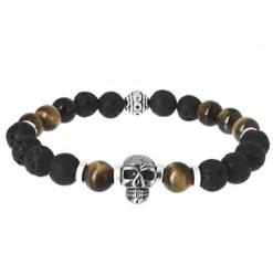 bracelet wing chun oeil de tigre et pierre de lave