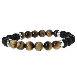 bracelet agate noire et oeil de tigre black pearl