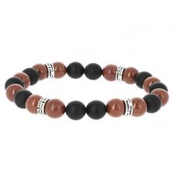 bracelet agate noire et jaspe rouge