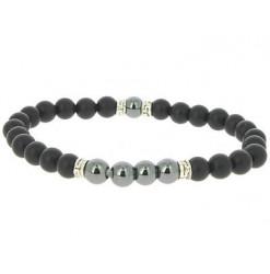 bracelet agate noire et hématite