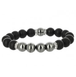 hématite et agate noire bracelet perles de pierres