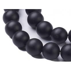 agate noire perles naturelles givrées