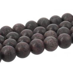 perles givrées de grenat rouge