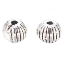perles striées en métal argenté