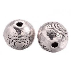 perles coeur en métal de 6mm
