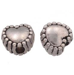 perle coeur strié en métal