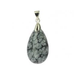 pendentif en pierre d'obsidienne neige