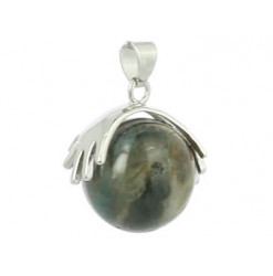 pendentif agate mousse perle