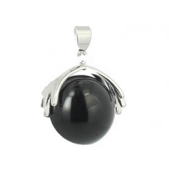 pendentif perle agate noire