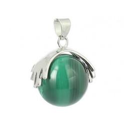 malachite pendentif pierre perle