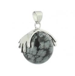 pendentif perle obsidienne neige