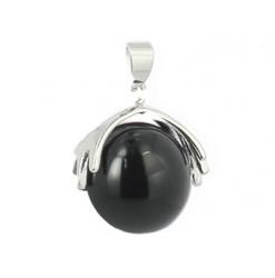 pendentif perle obsidienne oeil céleste