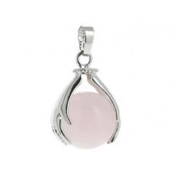quartz rose pendentif perle de pierre