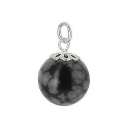 pendentif obsidienne neige perle