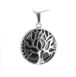 pendentif arbre de vie agate noire