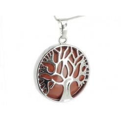 pendentif arbre de vie jaspe rouge