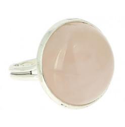 quartz rose bague pierre cabochon