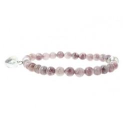 bracelet perles lépidolite et coeur