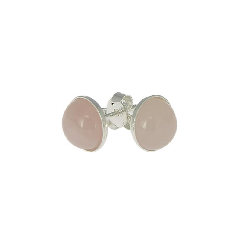 quartz rose puces oreilles argent
