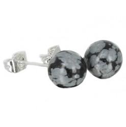 obsidienne neige puces oreilles perles