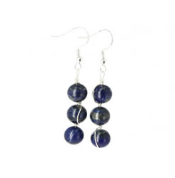 boucles oreilles perles lapis lazuli
