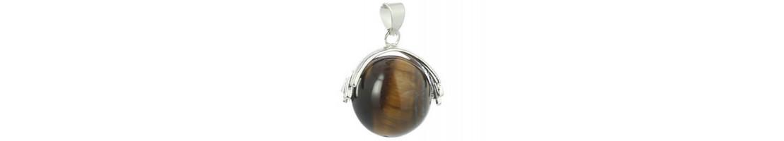 Pendentifs en sphères de pierres collection Mano - Zen Desprit
