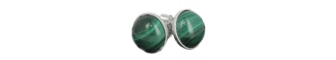 Puces d'oreilles pierre cabochon et argent 925 Sterling - Zen Desprit