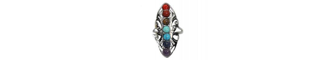 Bagues 7 Chakras pierres fines naturelles - Zen Desprit